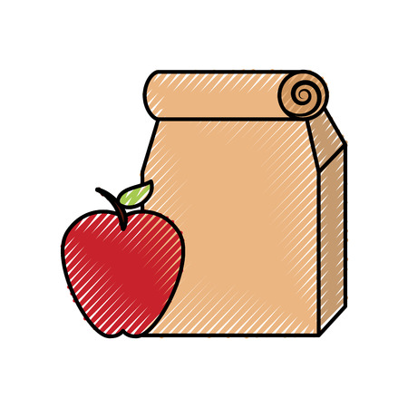 Lunch bag in paper bag with apple vector illustration design Stock Vector - 83827515