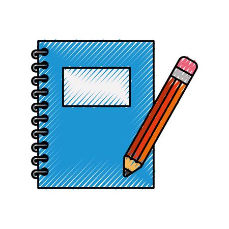 école d'ordinateur portable avec design d'illustration vectorielle de crayon