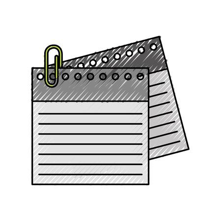 notebook sheet with metal click vector illustration design Illustration