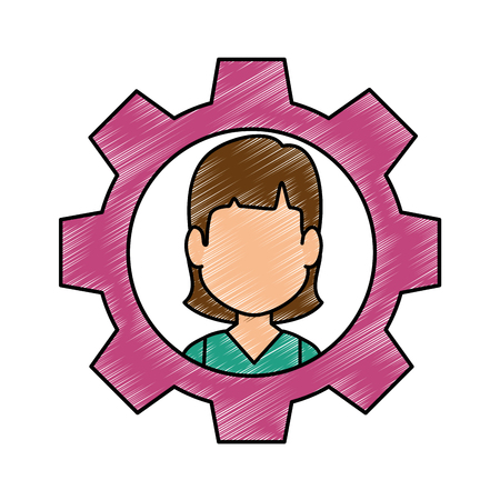 Person inside gear icon vector illustration graphic design Ilustracja