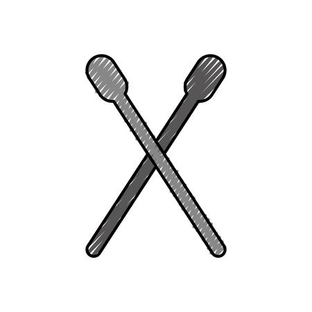 Tamburo bastone isolato icona illustrazione vettoriale di progettazione Archivio Fotografico - 83822811