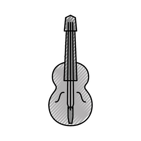Chitarra acustica isolato icona illustrazione vettoriale illustrazione Archivio Fotografico - 83822822