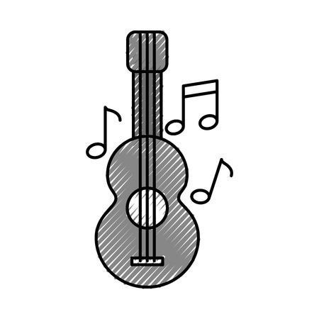 acoustic guitar with music notes vector illustration design royalty rh 123rf com Music Notes SVG Music Notes