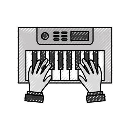 Synth 콘솔 벡터 일러스트 디자인과 손 사용자