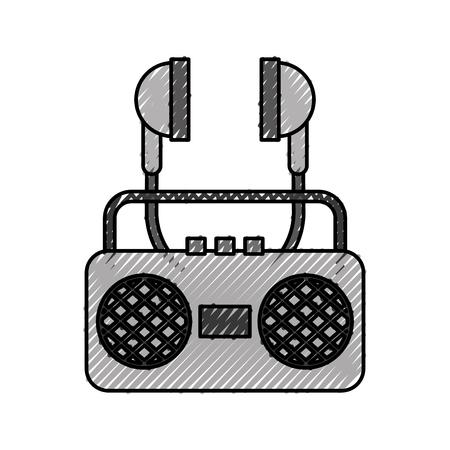 radio music player with earphones vector illustration design 向量圖像