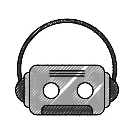 Retro cassette met oortelefoons vector illustratie ontwerp