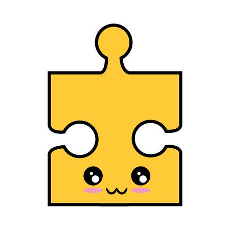 kawaii jigsaw puzzle icon over white background vector illustration Illustration