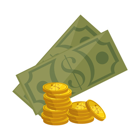 money coins and bills icon over white background vector illustration