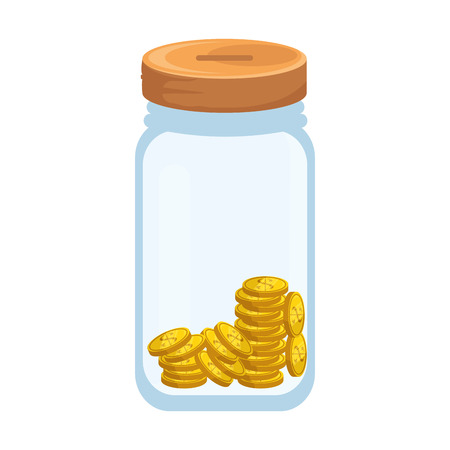 bottle with coins icon over white background vector illustration Vector Illustration