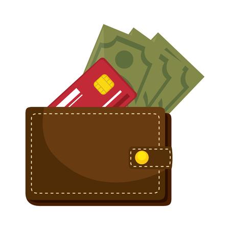 白い背景のベクトル図をお金のアイコン付き財布  イラスト・ベクター素材