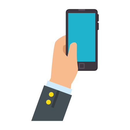 wireless communication: hand holding a smartphone device icon over white background vector illustration