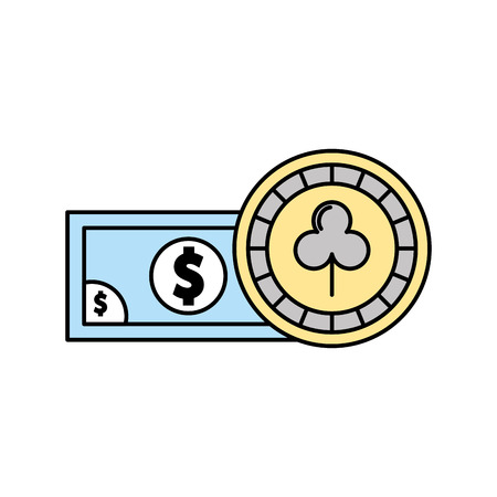 casino chips with bill vector illustration design