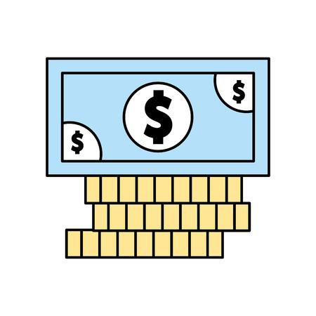 Diseño del ejemplo del vector del icono de las monedas y de la cuenta de dinero aislado Foto de archivo - 83824926