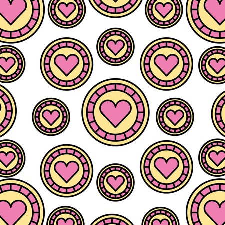 shaped: casino chips with heart pattern background vector illustration design