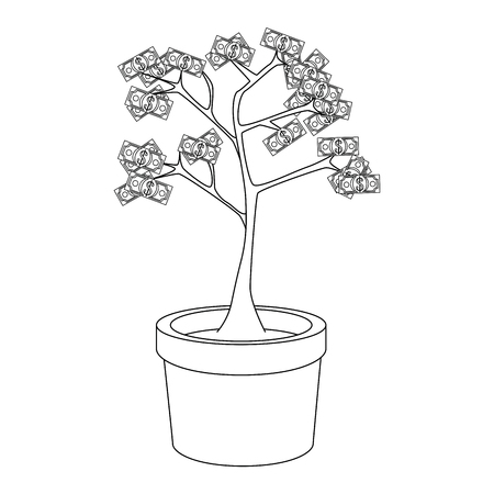 money plant in a pot icon over white background vector illustration