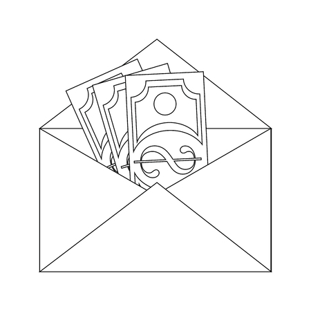envelope with money icon over white background vector illustration
