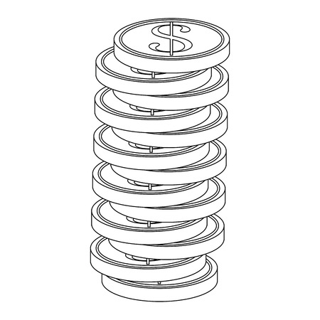 stack of money coins icon over white background vector illustration
