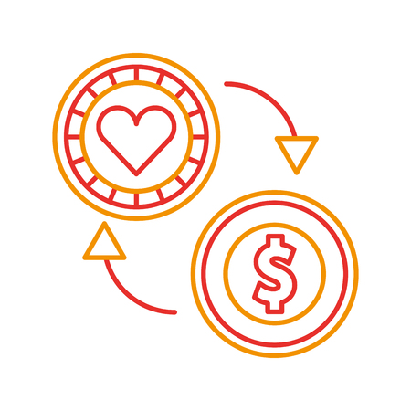 coins money with casino chip vector illustration design
