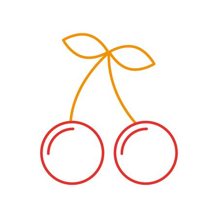 체리 과일 격리 아이콘 벡터 일러스트 디자인