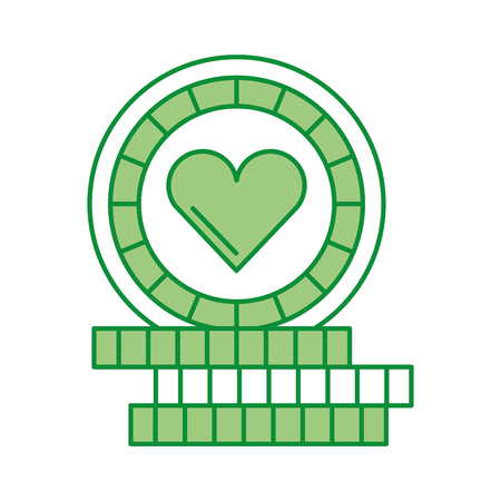 shaped: casino chips with heart vector illustration design