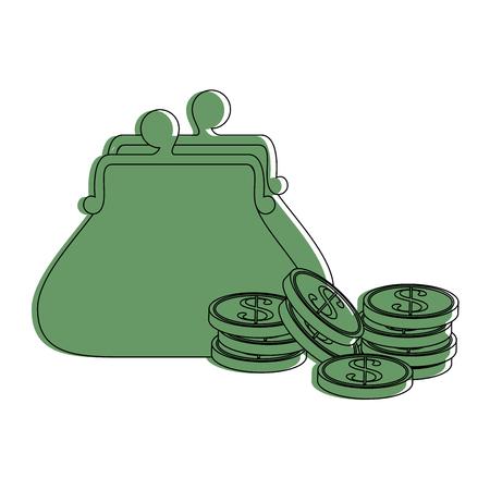 동전 아이콘 벡터 일러스트와 함께 지갑 그래픽 디자인