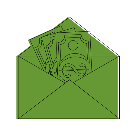 Mail with money icon vector illustration graphic design