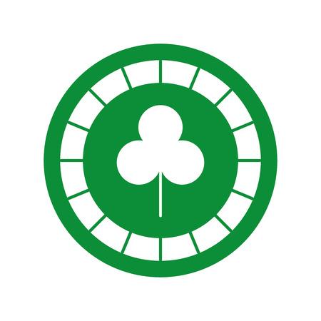 clover leaf shape: casino chips with clover vector illustration design