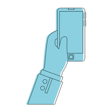 touch screen phone: Hand with smartphone icon vector illustration graphic design