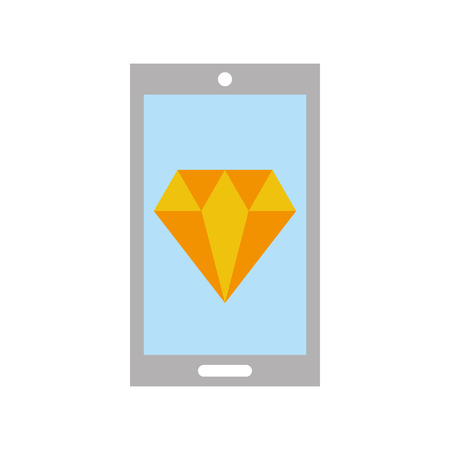 smartphone with luxury diamond isolated icon vector illustration design