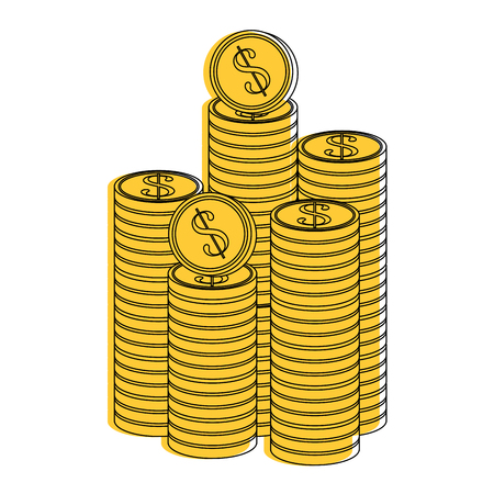 Coins piled up icon vector illustration graphic design