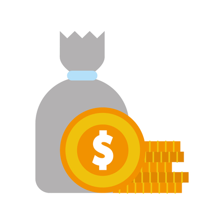 sack with coins money isolated icon vector illustration design