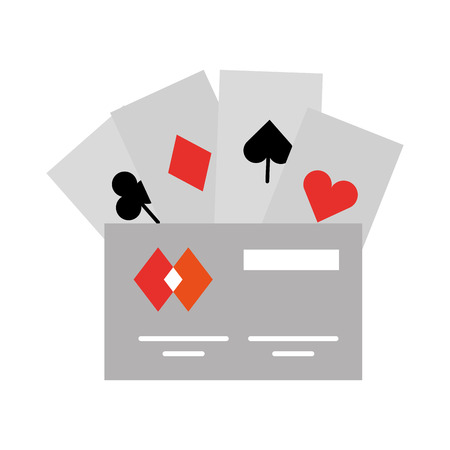 poker cards with credit card vector illustration design
