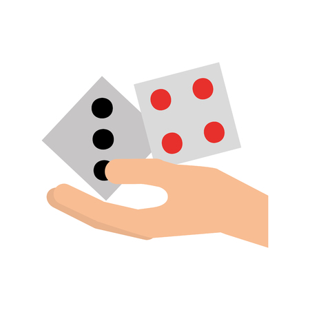 hand human with casino dices vector illustration design Ilustração