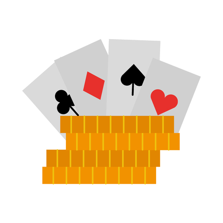casino chips with poker cards vector illustration design Illustration