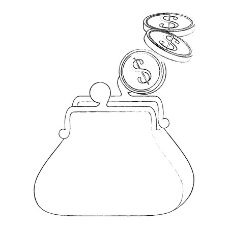 purse with money  icon over white background vector illustration