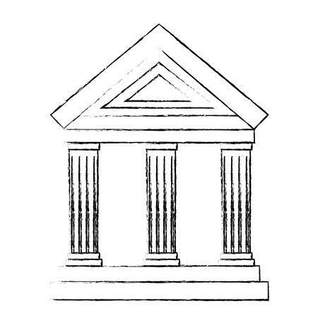 bank gebouw pictogram over witte achtergrond vectorillustratie