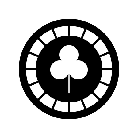 casino chips with clover vector illustration design
