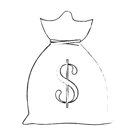 money sack icon over white background vector illustration Ilustração