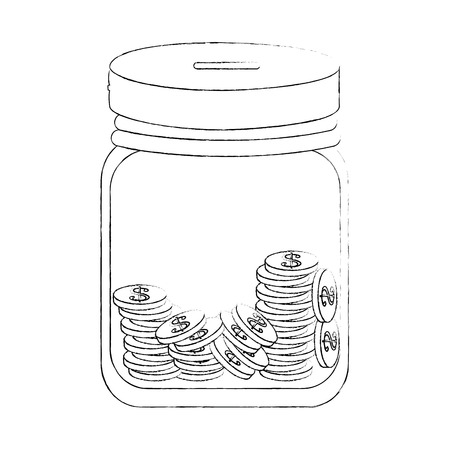bottle with coins icon over white background vector illustration