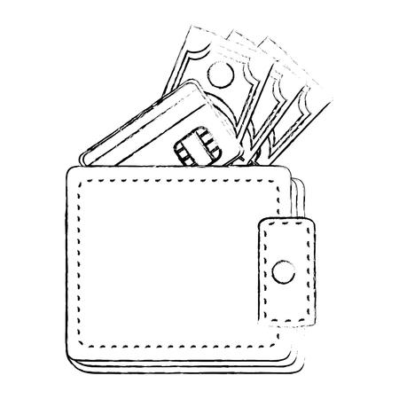 흰색 배경 벡터 일러스트 레이 션 위에 돈 아이콘 지갑