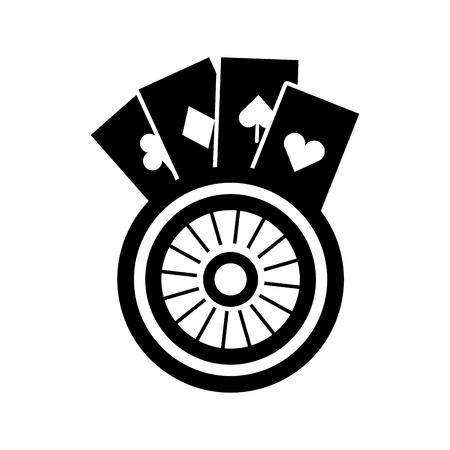 Casino roulette with poker cards vector illustration design 向量圖像
