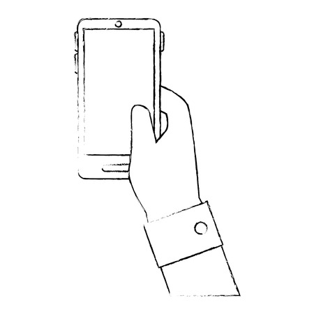 responsive: hand holding a smartphone device icon over white background vector illustration