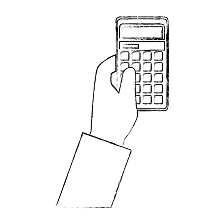 hand holding a calculator icon over white background vector illustration