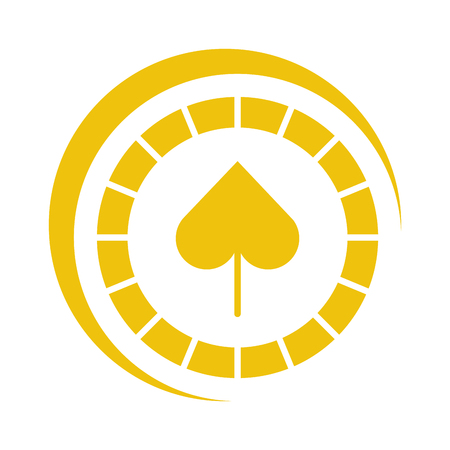 casino chips with spade vector illustration design