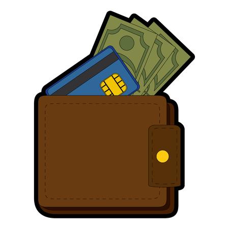 portefeuille met geld pictogram over witte achtergrond vectorillustratie Stock Illustratie