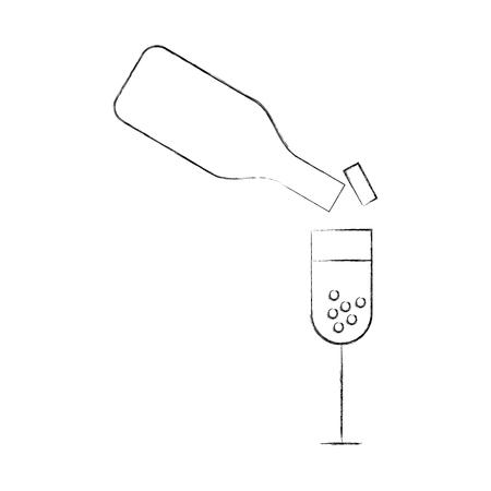 wine bottle and cup vector illustration design