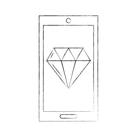 smartphone with luxury diamond isolated icon vector illustration design Stock fotó - 83826924
