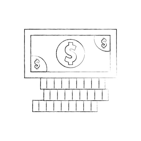 coins and bill money isolated icon vector illustration design