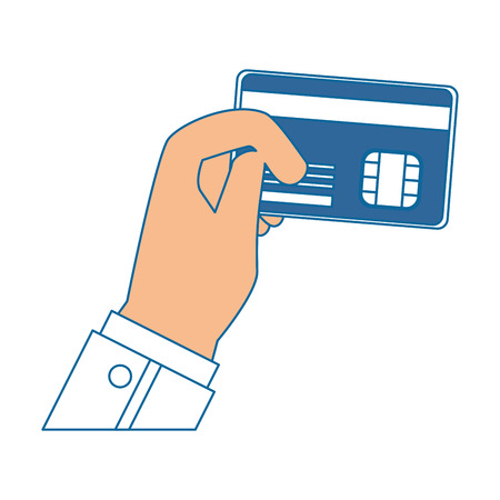 Hand with credit card icon vector illustration graphic design