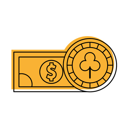 shaped: casino chips with bill vector illustration design
